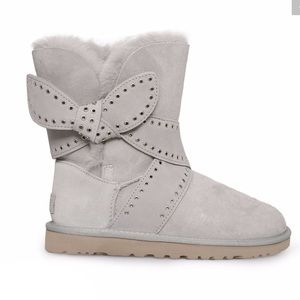 UGG Mabel Light Grey Suede Bailey Bow Boot